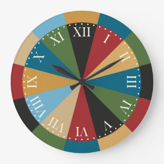 Retro Geometric Pattern Elegant Italian Colors Large Clock