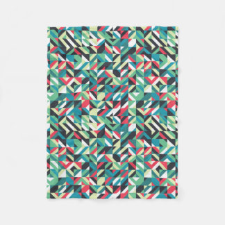 Retro Geometric Squares Pattern Fleece