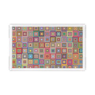 Retro Geometric Tile Pattern Acrylic Tray