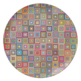 Retro Geometric Tile Pattern Party Plates
