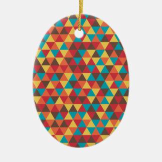 Retro Geometric Triangles Ceramic Oval Ornament
