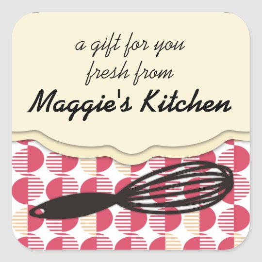 retro geometric whisk cooking baking bakery square sticker