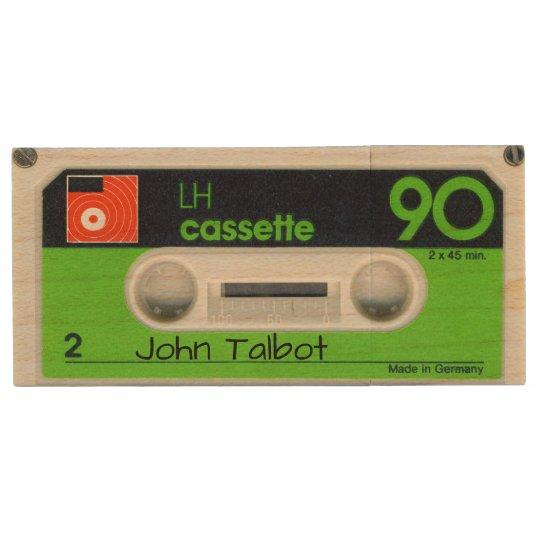 Retro German Audiotape Personalized USB Wood USB Flash Drive