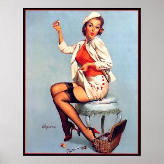 Rétro Gil vintage Elvgren cousant le Pin VERS LE H Posters