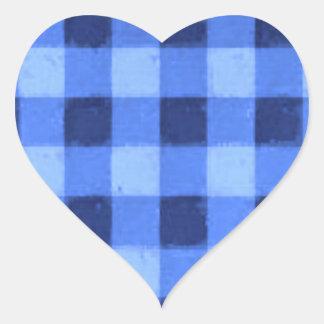 Retro Gingham Blue Heart Sticker