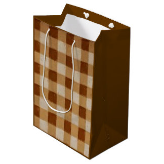Retro Gingham Brown Medium Gift Bag