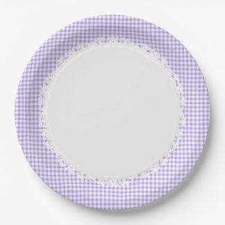 Retro-Gingham_Picnic_Blueberry_Check_Stylish_Decor Paper Plate