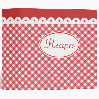 Retro Gingham Recipe Cookbook Binder Gift