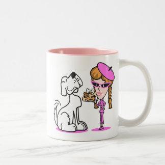 retro girl and pet dog, retro girl and pet dog Two-Tone mug
