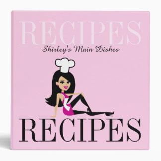 Retro Girl Chef Baker Recipe Binder Customizable