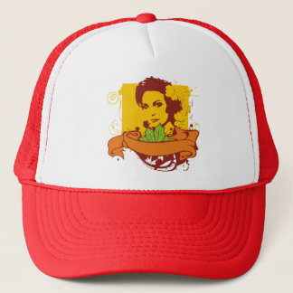 retro girl trucker hat