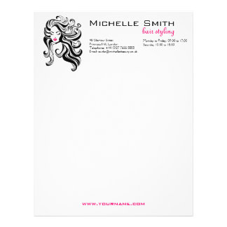 Retro girl with wavy hair Hairstyling branding Letterhead Template
