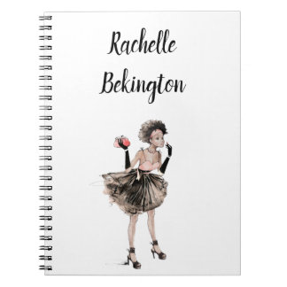 Retro Girl Woman Personalizable Notebook