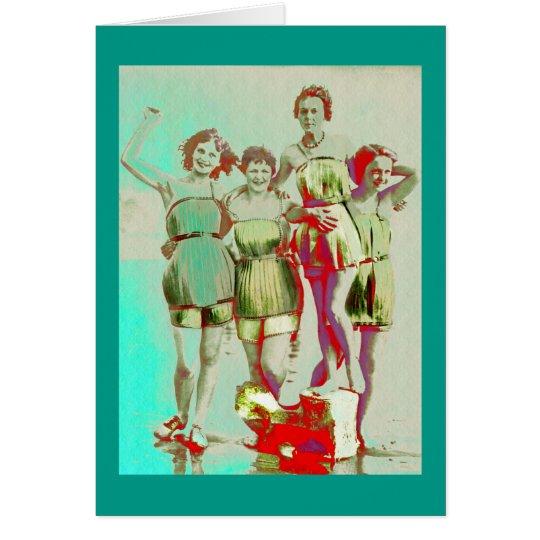 Retro Girls Day at Beach Card