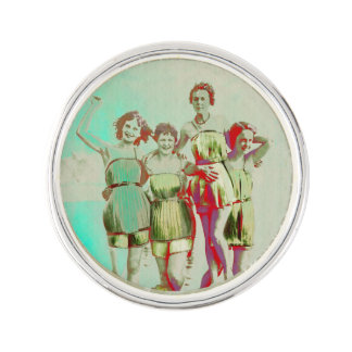 Retro Girls Day at the Beach Lapel Pin
