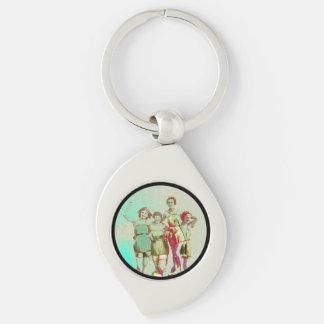 Retro Girls Day at the Beach Silver-Colored Swirl Keychain