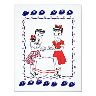 Retro Girls Hosting A Tea Party Social Invitation