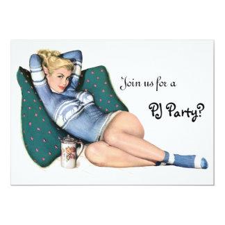 Retro Girl's Night In Sleepover Slumber PJ Party Announcements