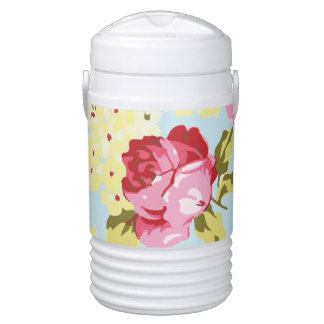 Retro Girly Floral Drinks Cooler