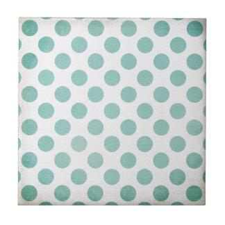 Retro Girly Light Blue Polka Dot Design Tiles