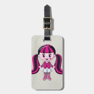 Retro Girly Monster Vampire Girl Luggage Tag