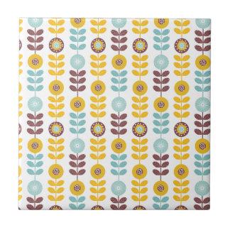 Retro girly orange teal abstrct floral pattern tile