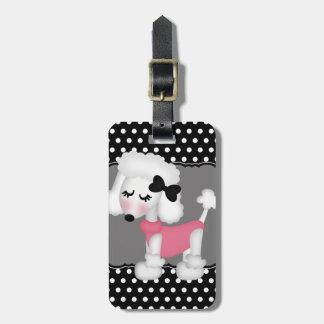 Retro Girly Paris Poodle Dog Luggage Tag