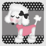 Retro Girly Paris Poodle Dog Square Stickers