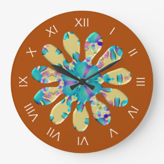 Retro Glam Daisy Flower Turquoise Opalescent Glow Clock