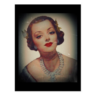 Retro Glam Girl Lipstick Postcard