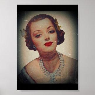 Retro Glam Girl Lipstick Poster