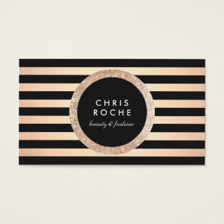 Retro Glam Rose Gold and Black Stripes Business Card