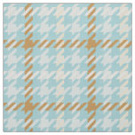Retro gold and teal houndstooth plaid pattern fabric