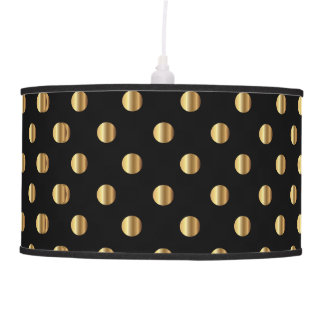 Retro Gold Dots on Black Background Pendant Lamp