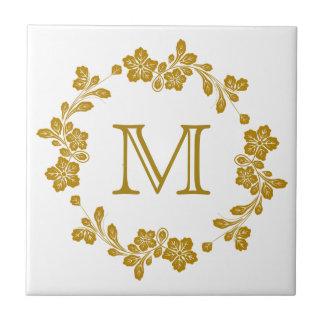 Retro Gold Floral Border Monogram Tiles