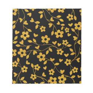 Retro Gold Glitter Floral Pattern Notepad