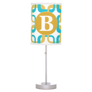 Retro Gold & Turquoise Pattern Monogram Table Lamp