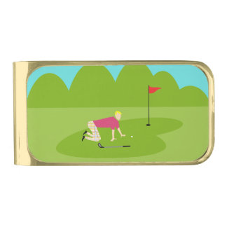 Retro Golfer Money Clip Gold Finish Money Clip