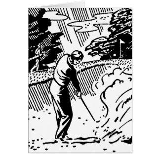 Retro Golfer Sand Trap Note Card