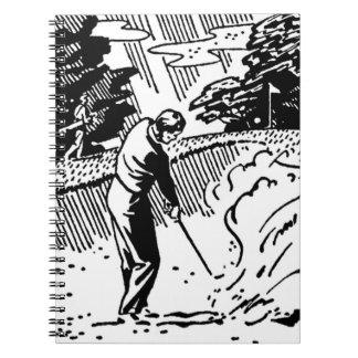 Retro Golfer Sand Trap Notebooks