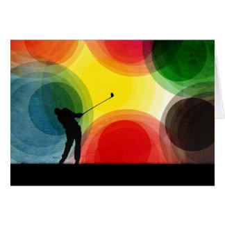 Rétro golfeur coloré de silhouette cartes de vœux