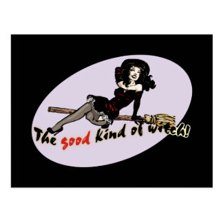 Retro Good Kind of Witch Postcard