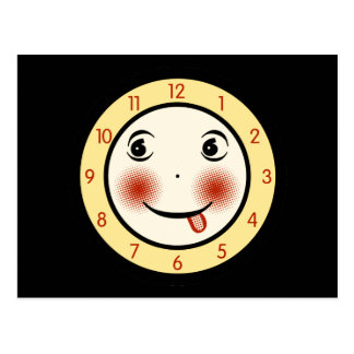 Retro Goofy Clock Face Postcard