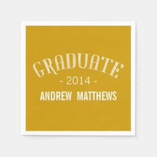 Retro Graduation Paper Napkins | Gold White