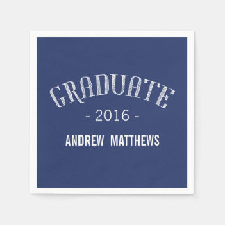 Retro Graduation Paper Napkins | Navy Blue White