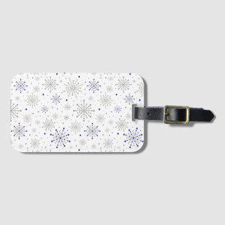 Retro Graphic Navy Silver Luggage Tag