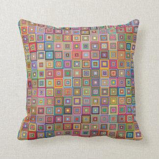 Retro Graphic Squares Design Throw Pillow