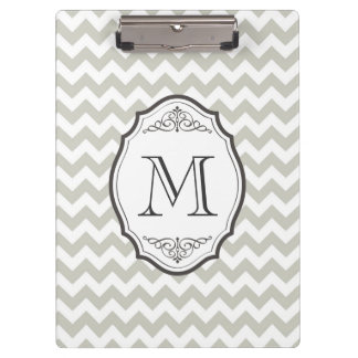 Retro Gray Chevron Monogram with Elegant Frame Clipboard
