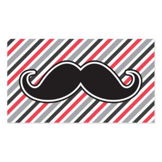 Retro gray red stripes black handlebar mustache business card