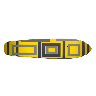 Retro gray shaded squares on yellow skate board